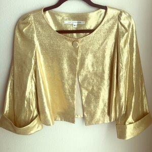 Diane Von Furstenberg midi metallic gold jacket